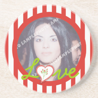 Love heart stripes Valentine's Day photo coaster