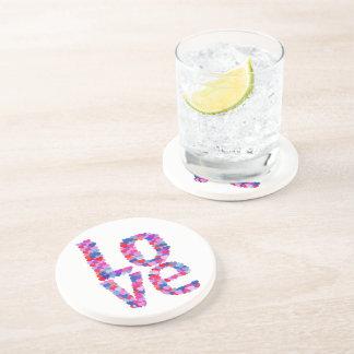 LOVE Heart Text Coaster
