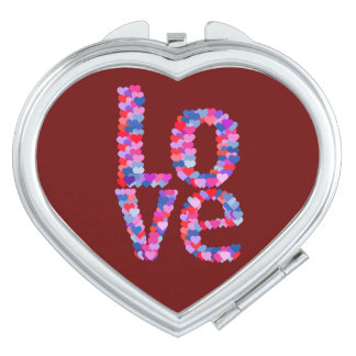 LOVE Heart Text Compact Mirror