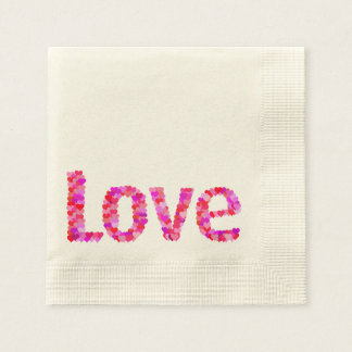 LOVE Heart Text Napkins Paper Napkins
