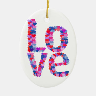 LOVE Heart Text Ornament
