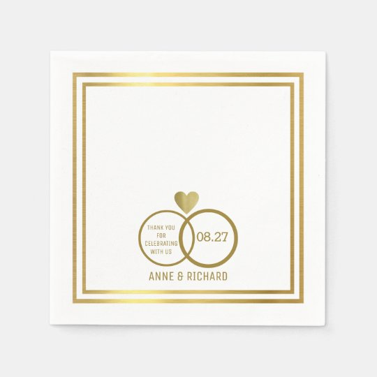love heart & two wedding rings personalised paper napkin