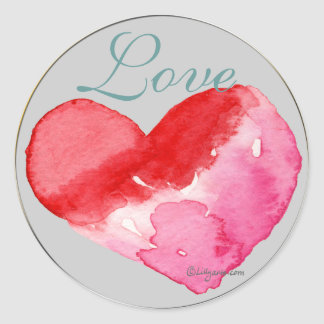 Love Heart Wedding Envelope Seal Round Sticker
