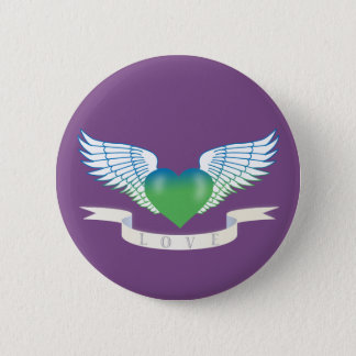 Love heart with wings 6 cm round badge
