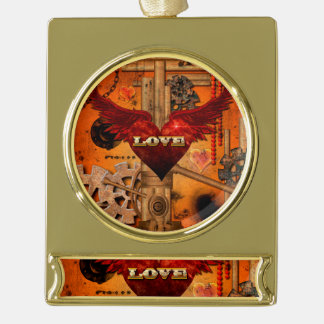 Love, Heart with wings Gold Plated Banner Ornament