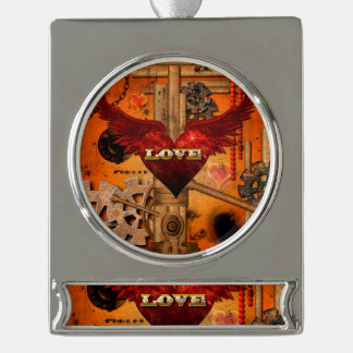 Love, Heart with wings Silver Plated Banner Ornament