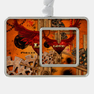 Love, Heart with wings Silver Plated Framed Ornament