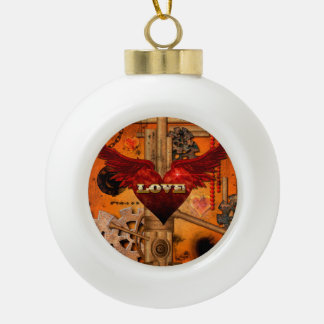 Love, Heart with wings Ceramic Ball Ornament