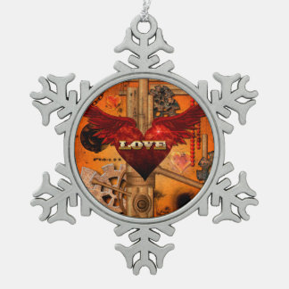 Love, Heart with wings Pewter Snowflake Ornament