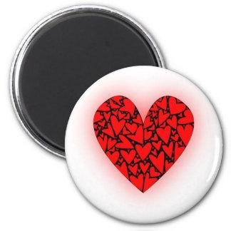 Love Hearts 6 Cm Round Magnet
