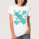 Love Hearts and Dragonflies Turquoise Shirt
