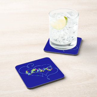 Love Hearts and Flowers Cork Coaster