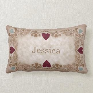 Love & Hearts Antique Vintage Style Custom Name Lumbar Cushion