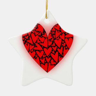 Love Hearts Ceramic Star Decoration
