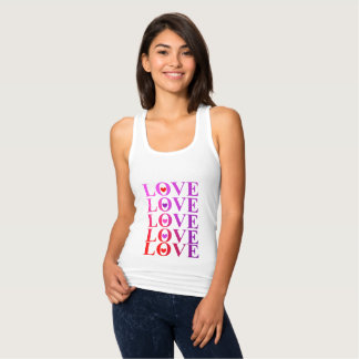 Love Hearts Cool Ombre Tones Typography Graphic Singlet