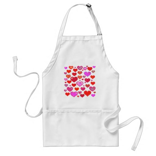 Love Hearts cute drawing eclectic vintage red pink Apron
