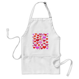 Love Hearts cute drawing eclectic vintage red pink Standard Apron