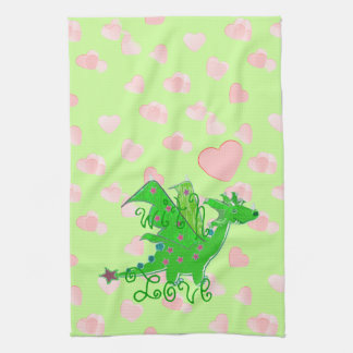 Love Hearts Dragon Pattern Hand Towels