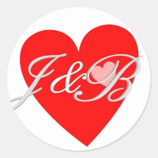 Love Hearts Envelope Seal Wedding Monograms Round Sticker