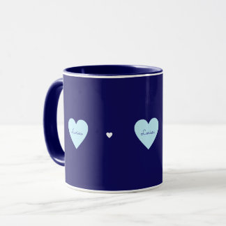 love hearts, feminine, romantic & monogrammed blue mug
