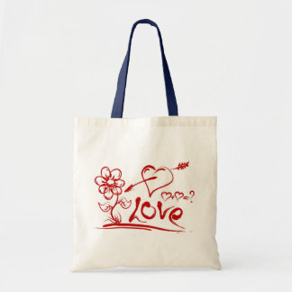 Love, Hearts, Flower Budget Canvas Tote Bag
