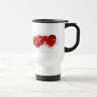 Love Hearts in Snow Stainless Steel Travel Mug