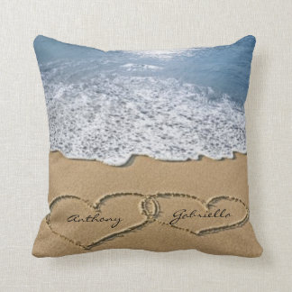 Love hearts In the Sand Personalized Pillow