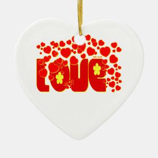 Love Hearts - John 13:34 Christmas Tree Ornament