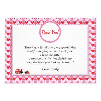 Love Hearts Ladybug Thank You Card