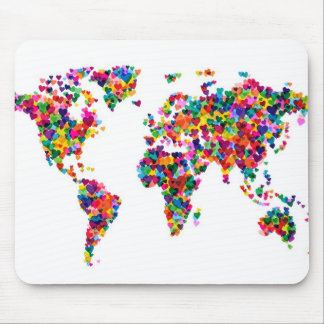 Love Hearts Map of the World Map Mouse Pad
