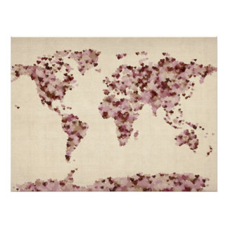 Love Hearts Map of the World Map Posters