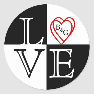 Love Hearts Monogram Wedding Sticker