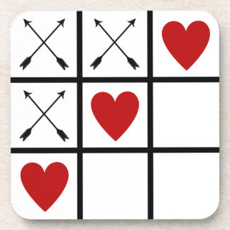 LOVE HEARTS 'n ARROWS Tic Tac Toe Beverage Coasters