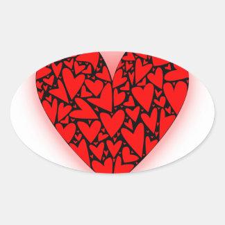 Love Hearts Oval Sticker