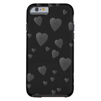 Love Hearts Pattern in Black and Gray. Tough iPhone 6 Case