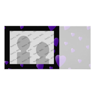Love Hearts Pattern in Black and Purple. Personalized Photo Card