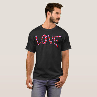 Love Hearts Pink Red Outline Typography T-Shirt