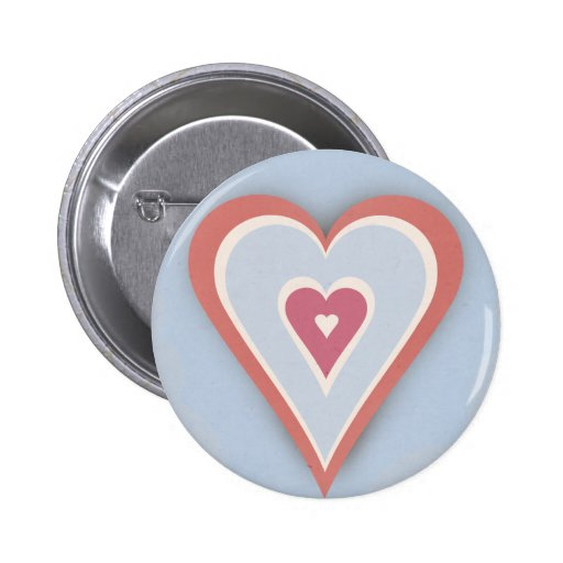 Love hearts - red white and blue pinback buttons