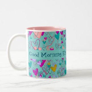 Love Hearts Romantic Good Morning Personalized Two-Tone Coffee Mug
