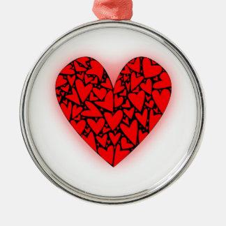 Love Hearts Silver-Colored Round Decoration