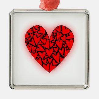 Love Hearts Silver-Colored Square Decoration