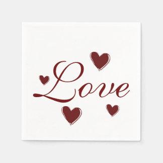 Love Hearts Wedding Paper Napkin Set