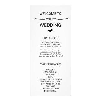 Love Hearts Wedding Program Rack Card