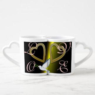 Love Hearts Wedding Shower Peace Destiny Art Lovers Mug Set