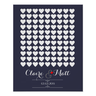 love hearts wedding signing guest book navy poster