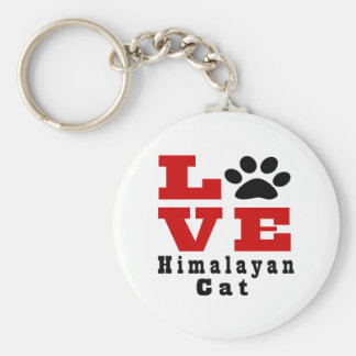 Love Himalayan Cat Designes Basic Round Button Key Ring