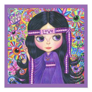 Love Hippie Girl Flower Child Peace Sign Card