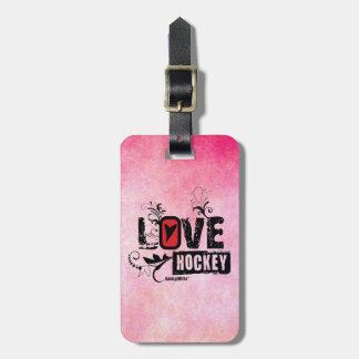 Love Hockey Swirl Luggage Tag
