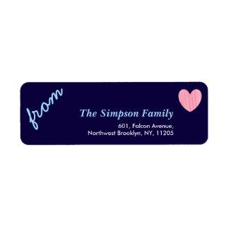 Love Holiday Collection Pink Heart Return Address Return Address Label