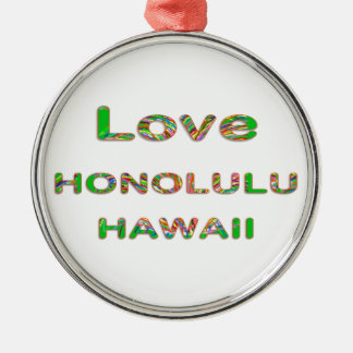 LOVE Honolulu Hawaii Christmas Ornaments